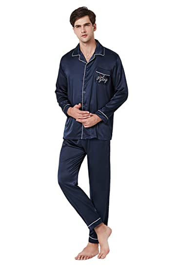 96351bb12284d Sofmoon Pajamas Men's Long Sleeve Sleepwear Soft Pj Set X-Large Navy ...