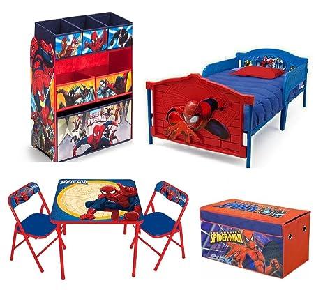 Marvel Spider Man Toddler Bedroom Bundle Set 3D Bed Toy Bin Organizer Activity Table Chairs Storage