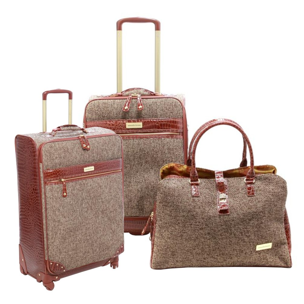 Samantha Brown Tweed 3PC 25'' Spinner, 21'' Spinner and Shoulder Bag Luggage Set - Tan