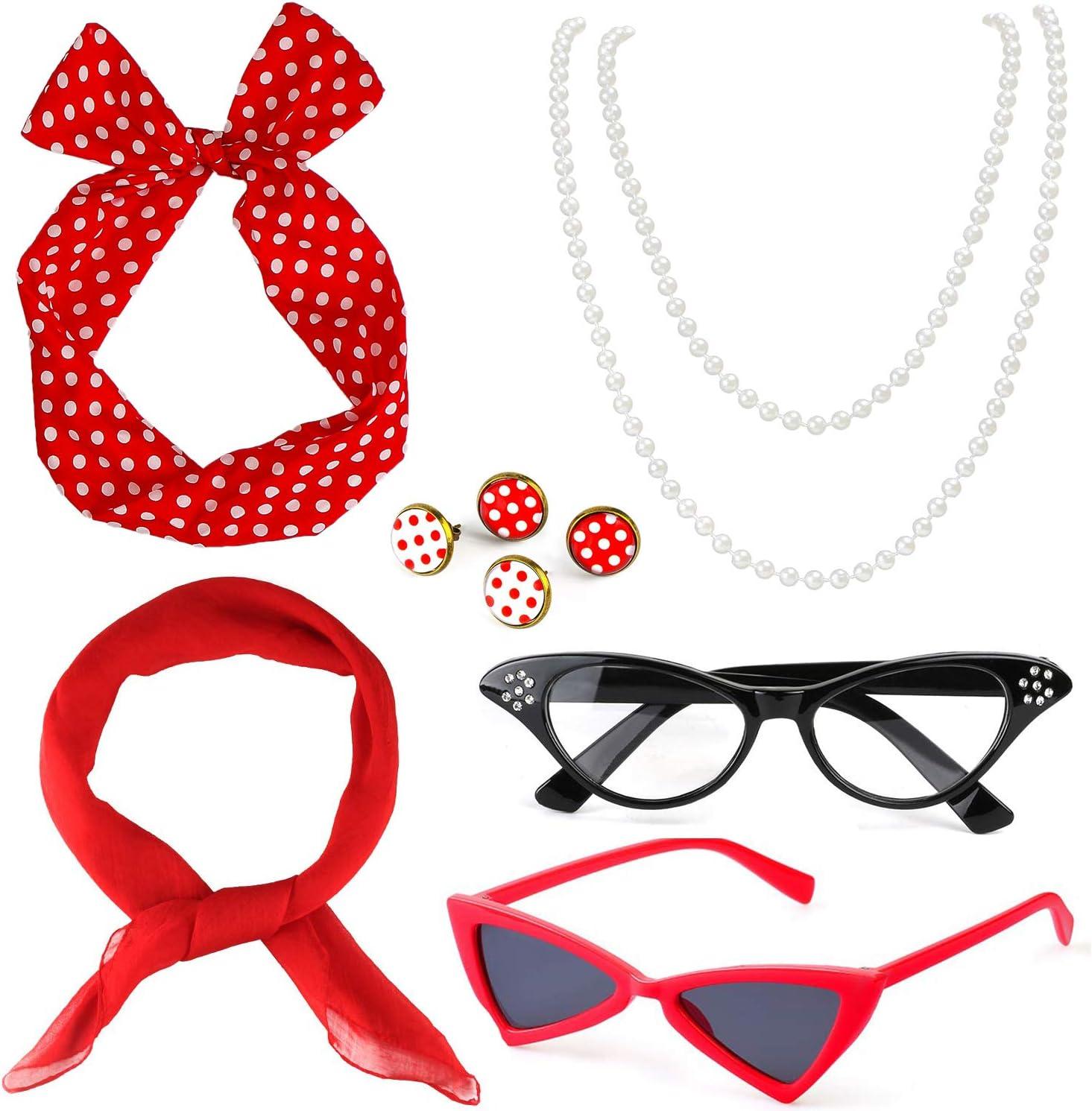 Beelittle 50's Women Costume Accessories Set Bufanda de Gasa Polka Dot Bandana Tie Diadema Pendientes Retro Cat Eye Eglasses Collar de Perla (Rojo)