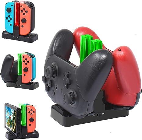 FYOUNG - Base de carga para Nintendo Switch, 6 en 1, con indicador LED para mando Joy-Con y Pro: Amazon.es: Videojuegos