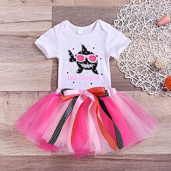 2354c9dcb Amazon.com: Toddler Baby Girls Shark Romper Tops Tutu Skirt Party Princess  Ball Gown Causual Outfit Set Clothes: Clothing