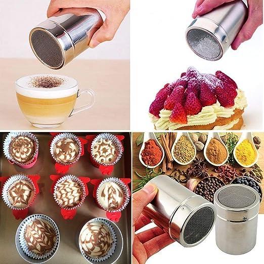 Schoko-Shaker f/ür Kaffee-Kakao-Zucker-Mehl-Desserts LATERN 304 Edelstahl-Schoko-Staubtuch-Shaker mit 16 Cappuccino-Kaffee-Barista-Schablonen
