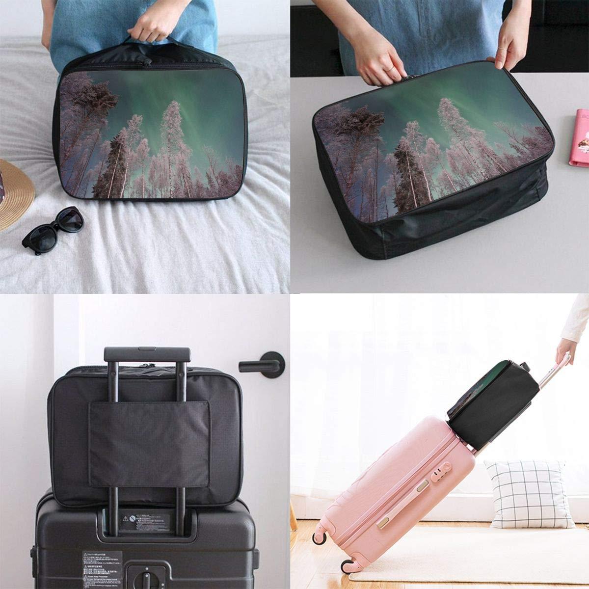 Aurora in The Polar Canvas Travel Weekender Bag,Fashion Custom Lightweight Large Capacity Portable Luggage Bag,Suitcase Trolley Bag