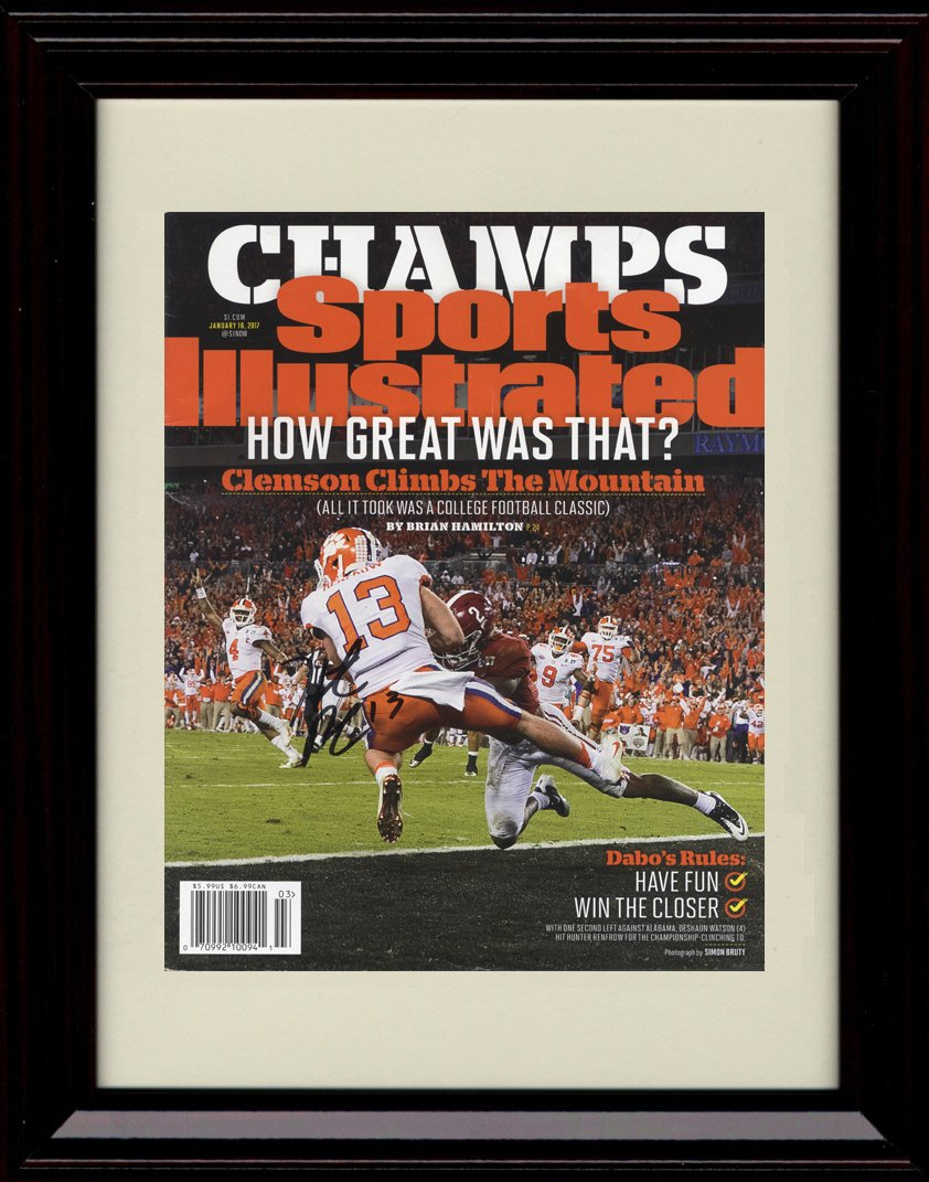 Framed Clemson Tigers National Champs 。Sports Illustrated Autographレプリカ印刷 – ハンターRenfrowキャッチ   B01NAY5LB9