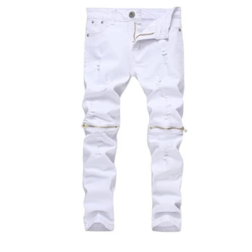 FREDD MARSHALL Boys Slim Fit Skinny Ripped Distressed Zipper Jeans Pants with Holes