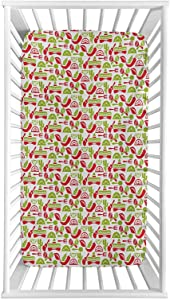 Lyzelre Fiesta Fitted Crib Sheet,Mexican Civilization Elements Hats Guitars Food Musical Instruments Microfiber Silky Soft Toddler Mattress Sheet Fitted,28