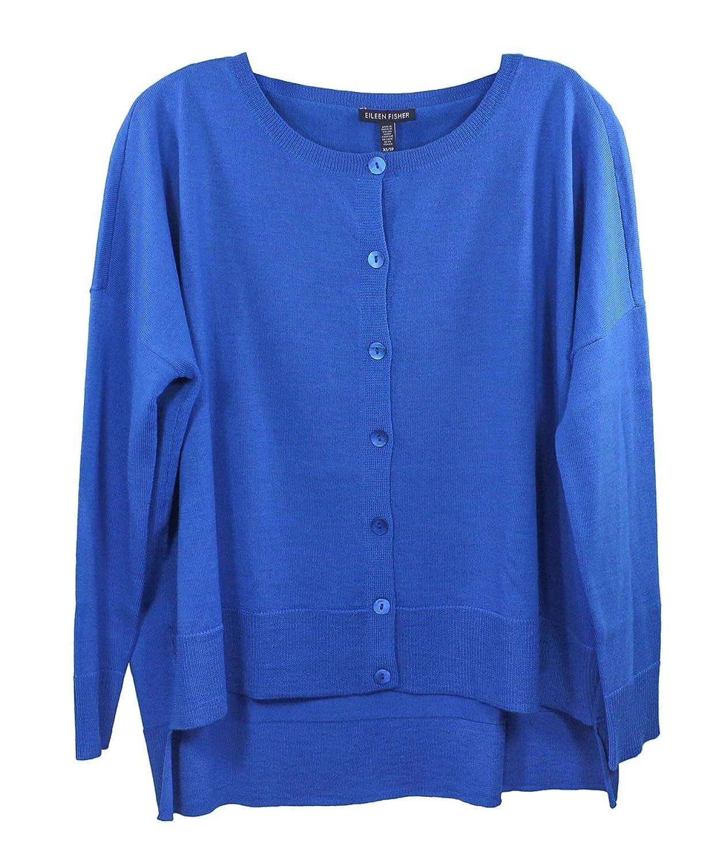 Eileen Fisher Cry Blue Round Neck Cardigan
