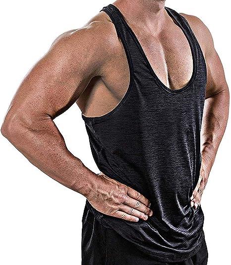 Mens Y-Back T-Back Racerback Bodybuilding Stringer Tank Top Muscle Gym Singlet