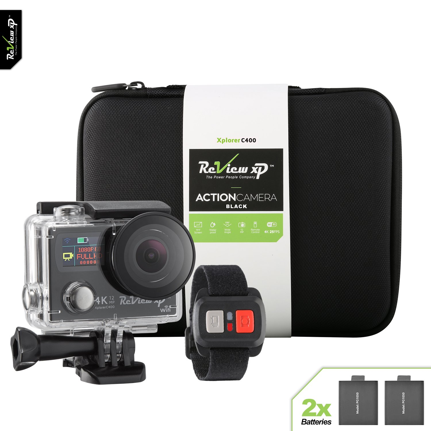 Review XP 4K Action Camera Wi-Fi Waterproof 12MP 25fps HD Sports Video Underwater Camcorder 170° Angle Dual Screen 2 Batteries Accessory Kit Carrying Case Remote Control – Black