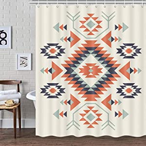Southwestern Decor Shower Curtain for Bathroom, Southwest Native American Pattern Tribal Navajo Boho Fabric Shower Curtains Set, Western Aztec Geometric Restroom Accessories with Hooks 72X72Inches
