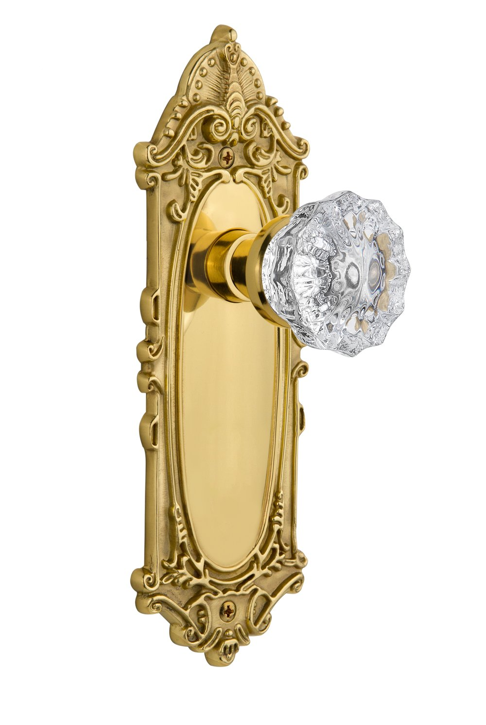 Nostalgic Warehouse Victorian Plate with Crystal Glass Knob, Single Dummy, Unlacquered Brass