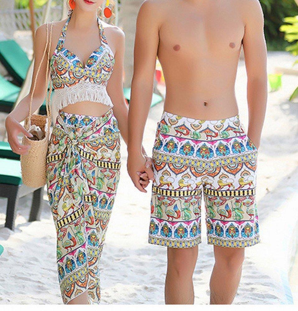 HOMEE Couples Maillots de Bain Rassembler Maillots de Bain conservateurs Les Les dames Split Bikini Pantalons de Plage Malles de Bain,Jaune,XXL
