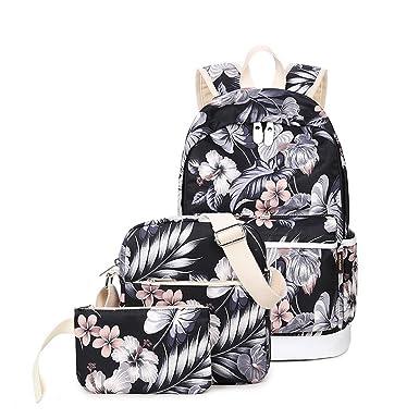 5f1af15ac68 Joymoze Waterproof School Backpack for Girl Cute Backpack Set 3 Pieces for  Women Floral