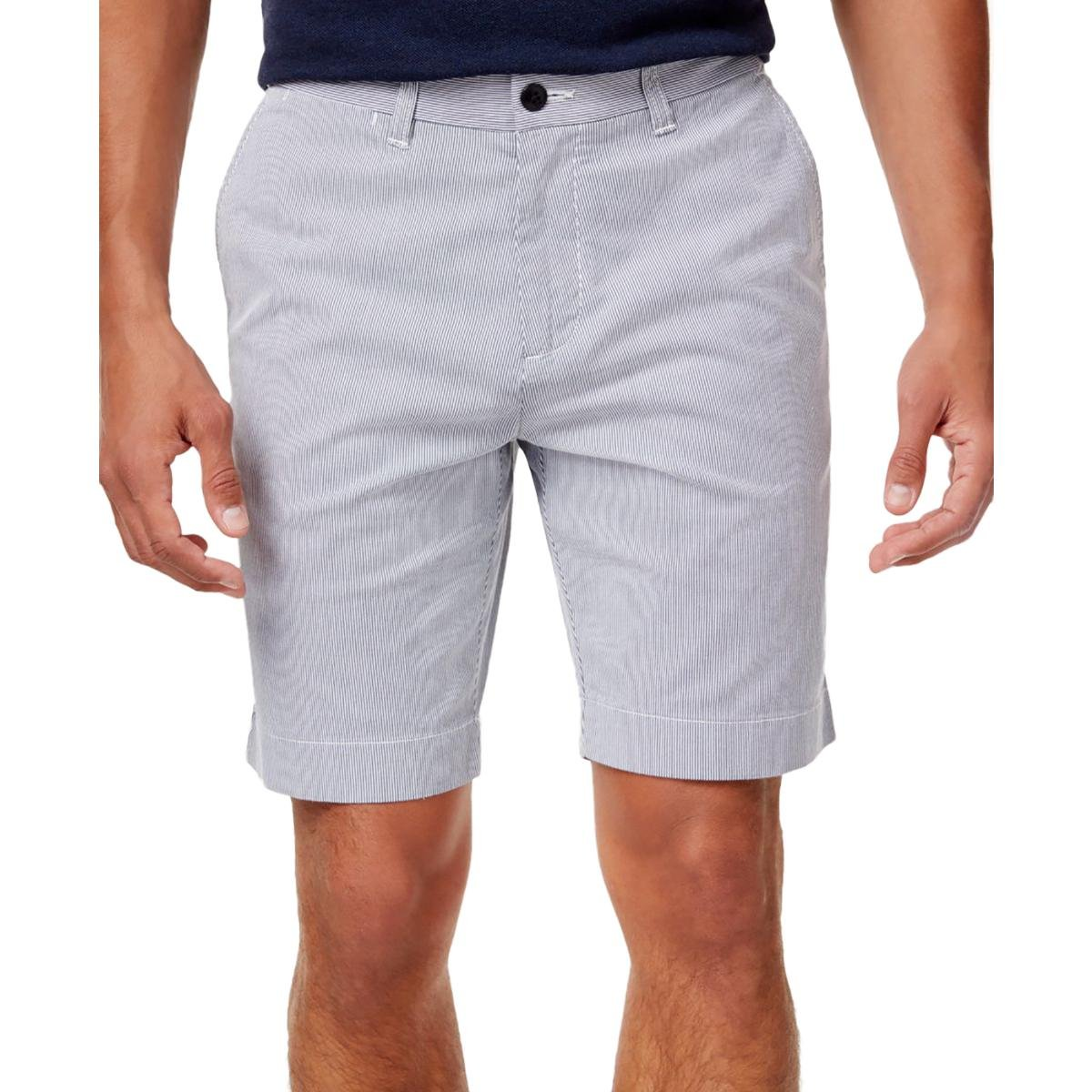 Tommy Hilfiger Mens Striped Flat Front Casual Shorts Blue 42