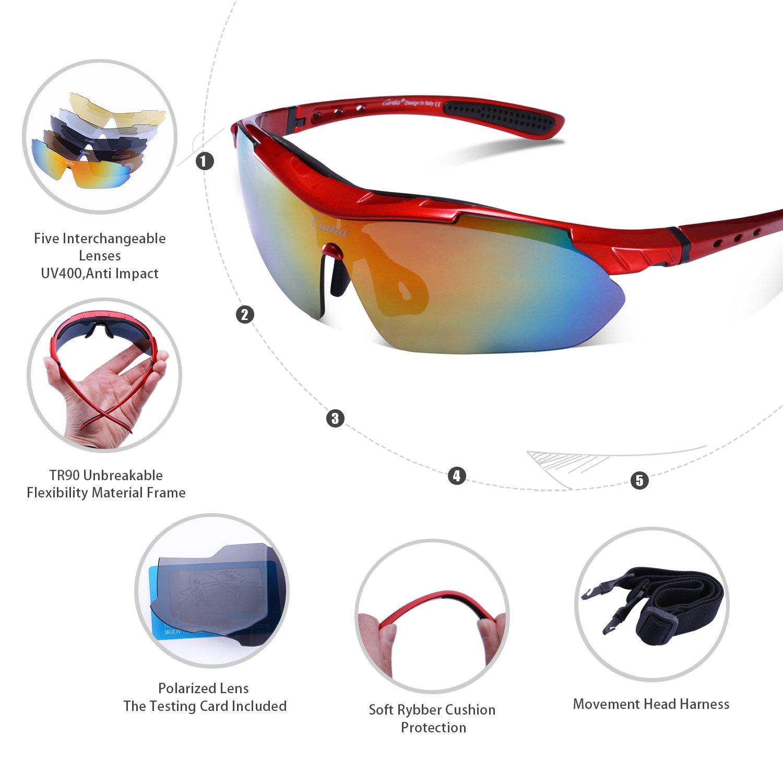 Carifa Lunettes de Soleil / Lunettes de Vélo VTT / Lunettes de Sport avec verres incassables UV400 polarisé + 5 Lentilles (E) SpdJjShpQU