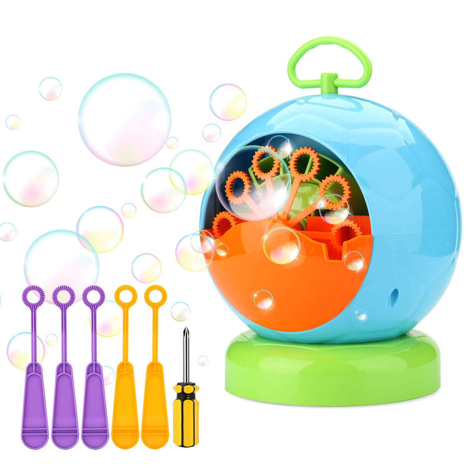 Bubble Machine, AGPtEK Automatic Bubble Machine Toy for Kids, Football Shape Blowing Over 500 Bubbles Per Minute, Portable Bubble Blower with 1 Screwdriver and 5 Extra Bubble Wands for Indoor & Outdoo