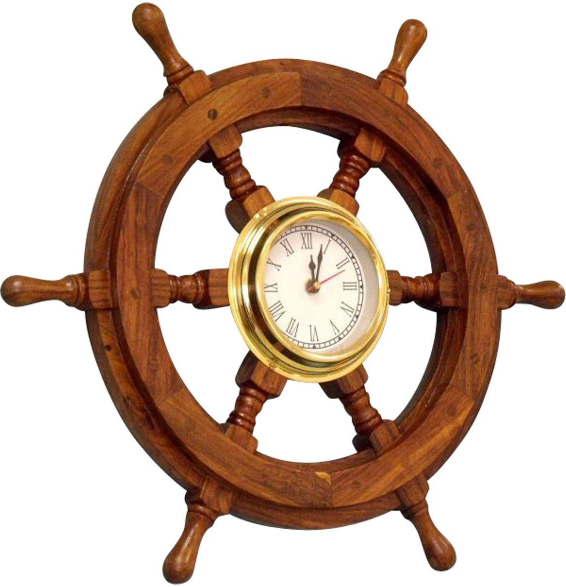 Amazoncom Wood And Brass Ship Wheel Clock Home Kitchen