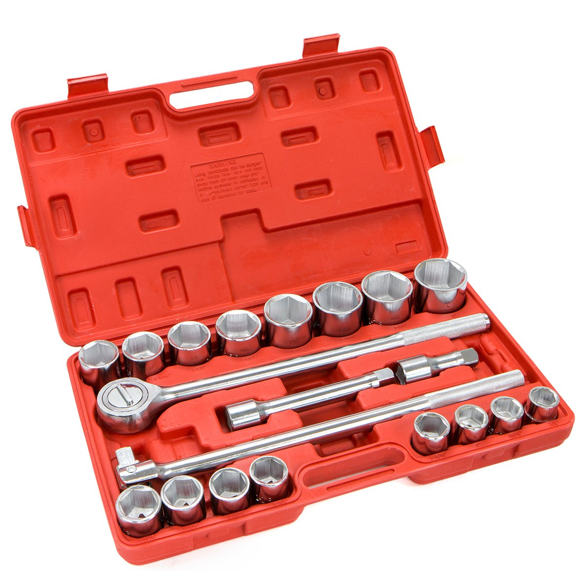 XtremepowerUS 21 Pieces 3//4 inch Drive Socket Wrench Set 6-Points Socket Ratchet Extension Bar SAE Set w//Case