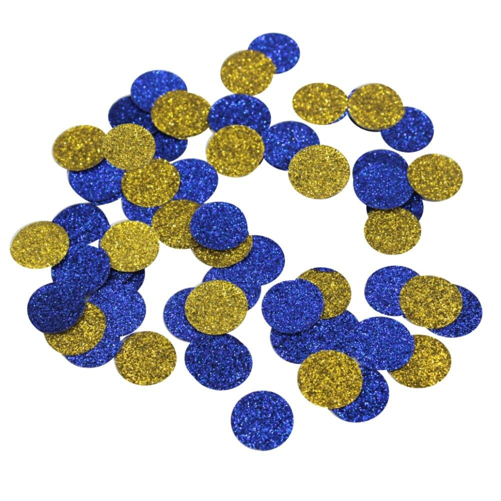 Mybbshower Gold Navy Blue Glitter Circle Confetti 3/5 Inch Dots for Wedding Bachelorette Party Pack of 600