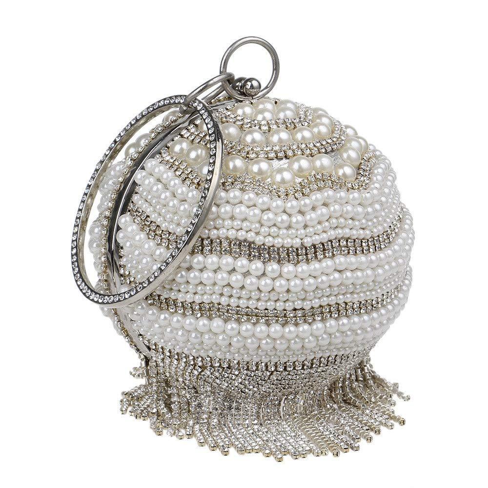 Zxcvlina Bridal Evening Handbag Womens Ball Pattern Drill with Beaded Evening Bag Clutch Bag for Bridal Wedding Cocktail Handbag Prom Bag Color : Silver