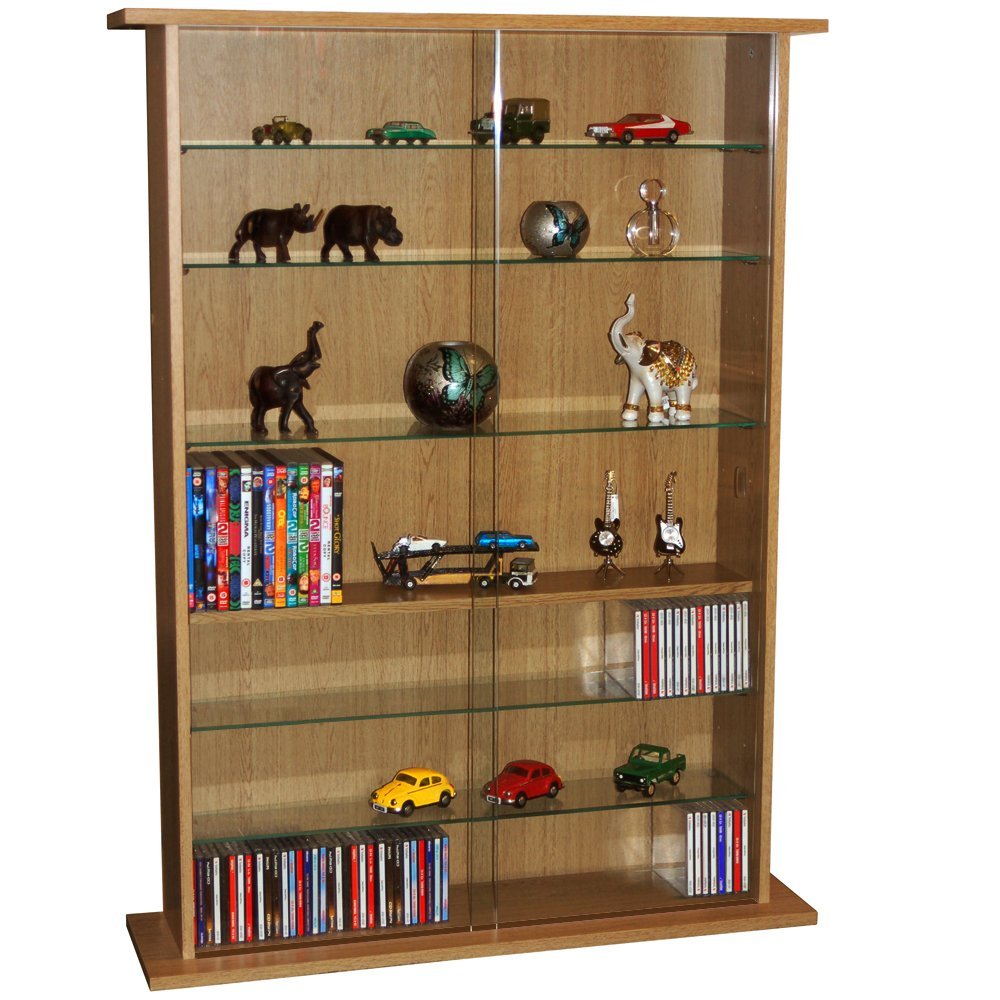 Boston glass collectable display cabinet cd dvd storage boston glass collectable display cabinet cd dvd storage shelves oak amazon kitchen home eventelaan Gallery