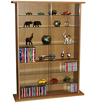 BOSTON   Glass Collectable Display Cabinet / CD DVD Storage Shelves   Oak