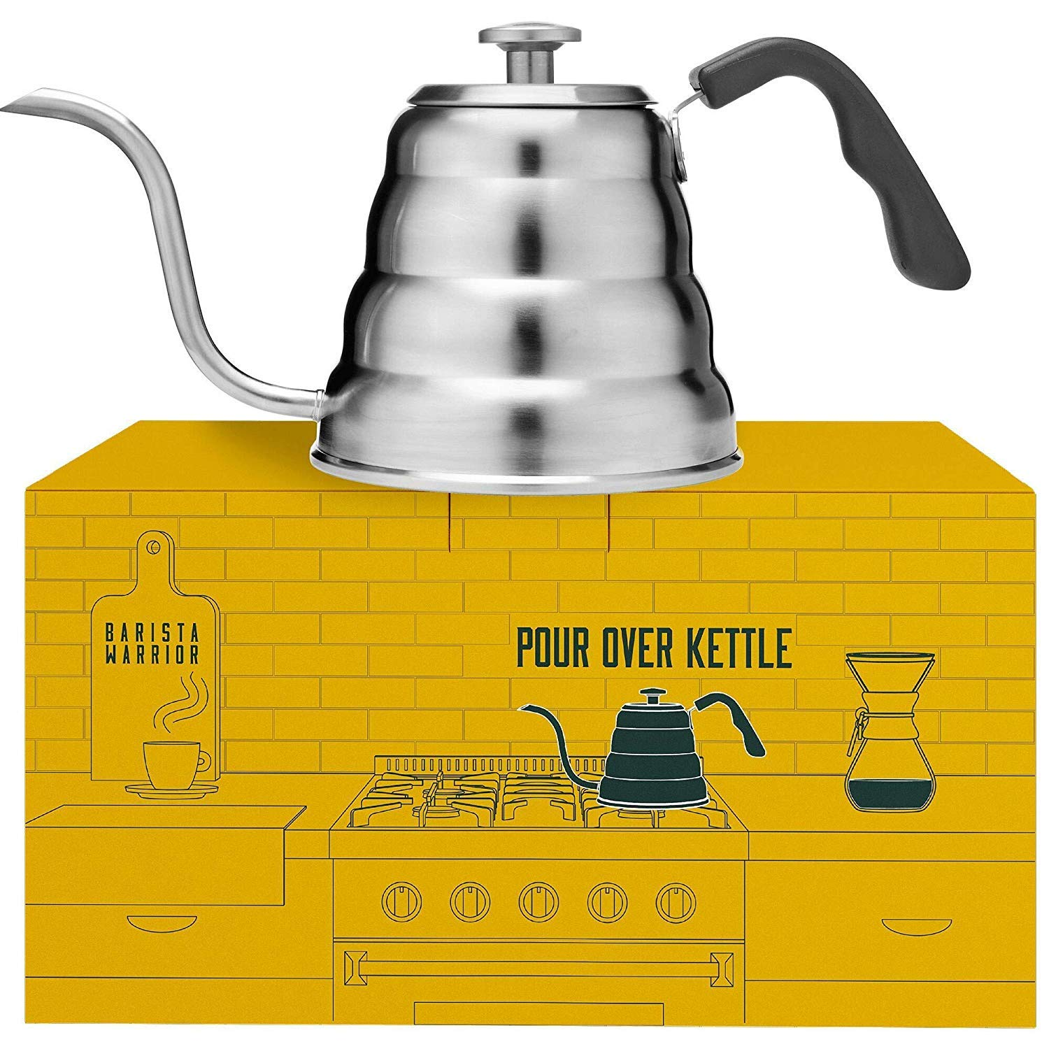 Pour Over Kettle with Thermometer - Gooseneck Kettle for Pour Over Coffee Kettle (1.2 Liter | 40 fl oz) by Barista Warrior