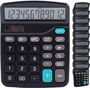 Calculator, Lichamp 10 Pack Calculators Large Display, Black Standard Function Desktop Basic Calculators with Dual Power Solar and AA Battery (Included)