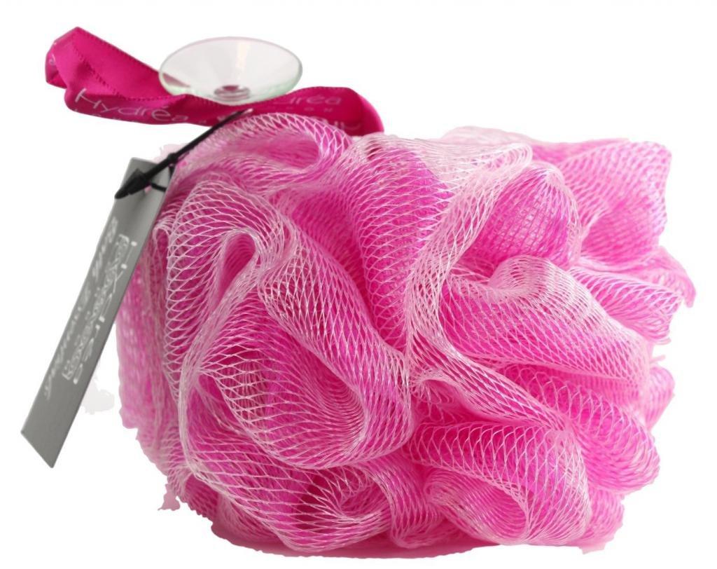 Esponja exfoliante de malla de nylon para el cuerpo/ Puff de baño/ color rosa- Baño y ducha Hydrea London