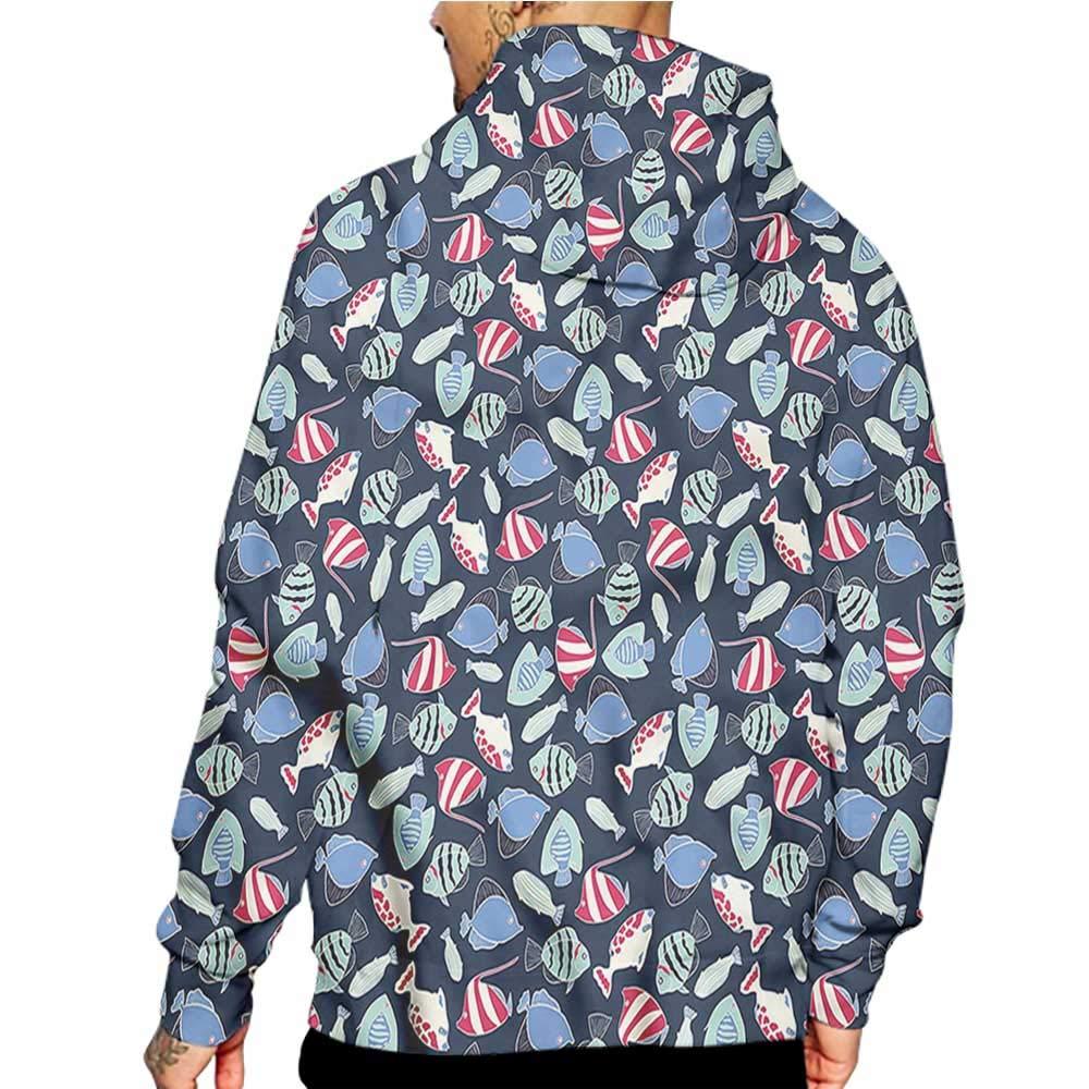 Unisex 3D Novelty Hoodies Aquarium,Cartoon Style Tiger Barb,Sweatshirts for Women