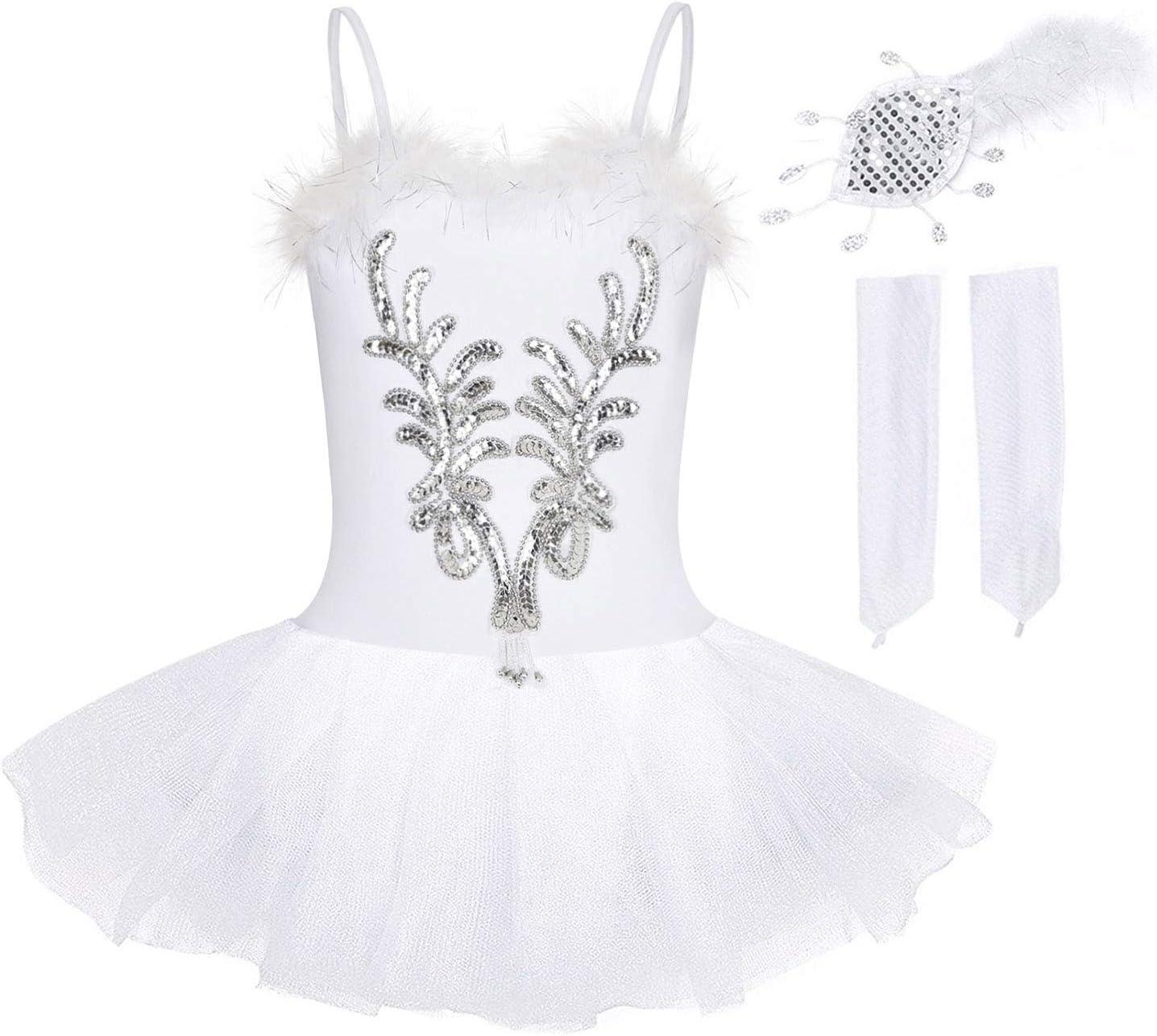 FONLAM Vestito Body da Balletto Danza Cigno per Bambine Ragazze Abiti Leotard Ballet Tutu Ginnastica Ragazza Paillettes