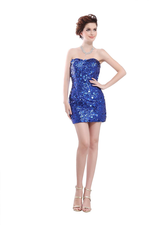 Dresstells Chic Damen Kleider Mini Satin Herzförmig Cocktailkleid Abiballkleid mit Pailletten