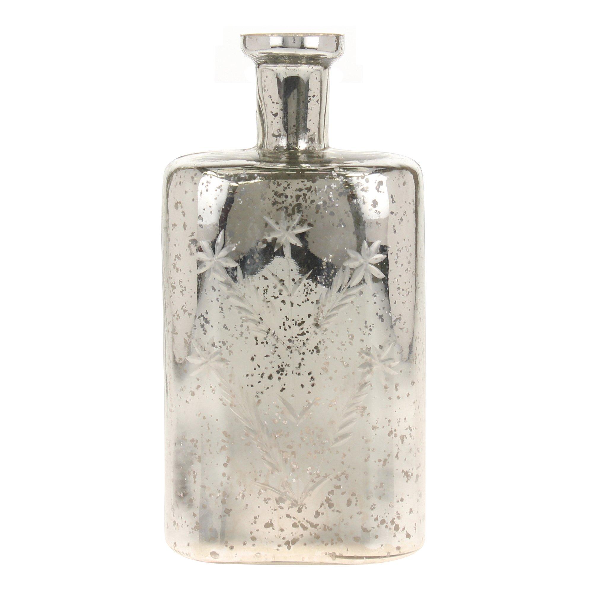 Stonebriar Romantic Mercury Cut Glass Star Pattern Bottle, Silver