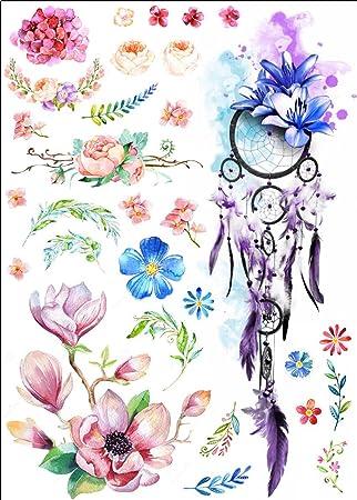 Wasserfarben Tattoo Blumen Und Traumfanger Fake Tattoo Zum Kleben