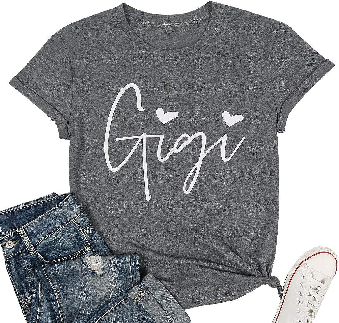 Gigi Shirts for Grandma Women Gigi Heart Graphic Tshirts Tops Letter Printed Short Sleeve Mimi Tees Shirt