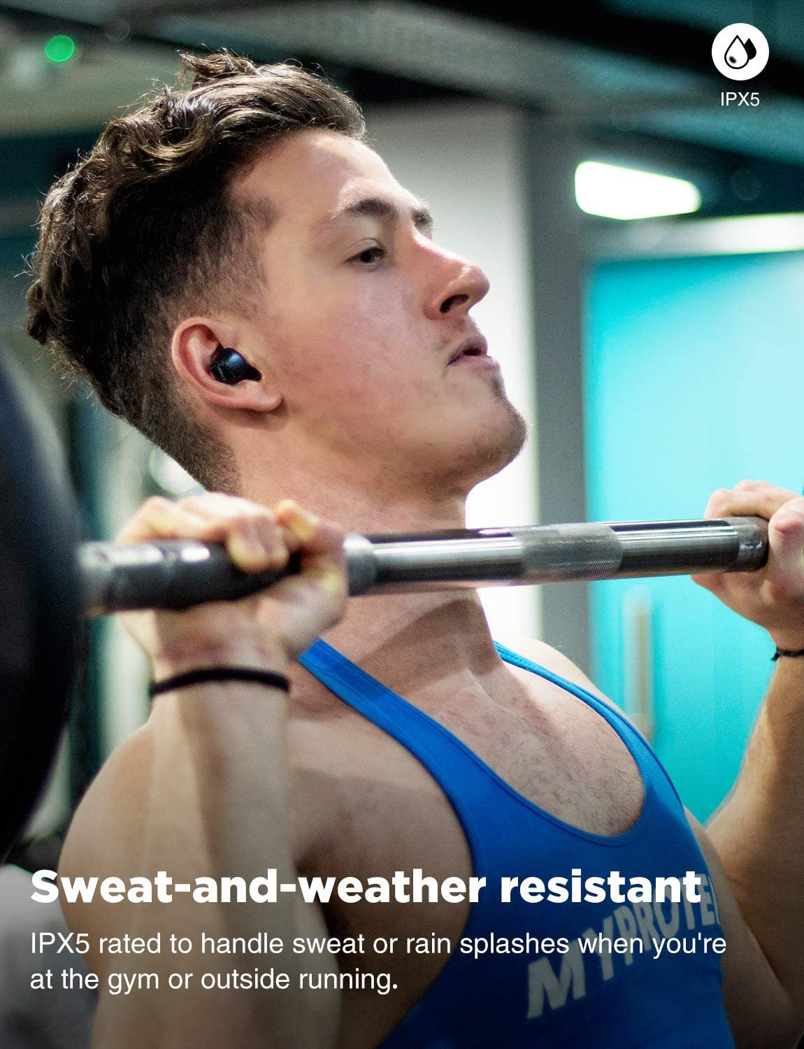 cowin KY02 Bluetooth Wireless Headphones Sport Earphones Earbuds Built-in Mic Stereo Calls Extra Bass Touch Control 36H Playtime for Workout Black