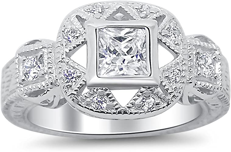 Cute Cz Promise  .925 Sterling Silver Ring Sizes 5-9