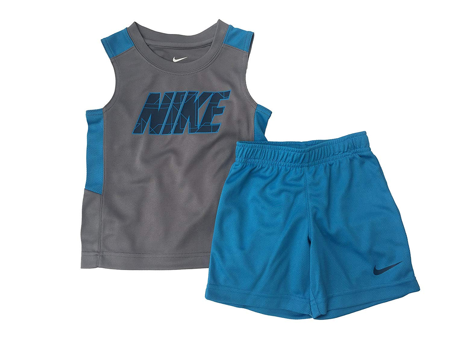 Nike Toddler Boys' Dri Fit Short Sleeve T-Shirt and Short 2 Piece Set (Cool Grey(76D248-478)/Blue Lagoon, 3T)