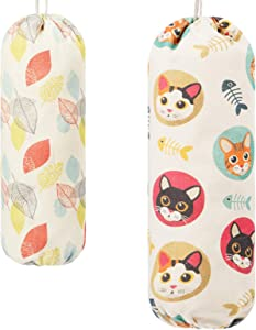 2 Pcs Plastic Bag Holder Grocery Shopping Bag Holder Carrier Dispenser Storage Organizer Canvas Storage Bag for Home Bedroom Kitchen, Cat and Leaves