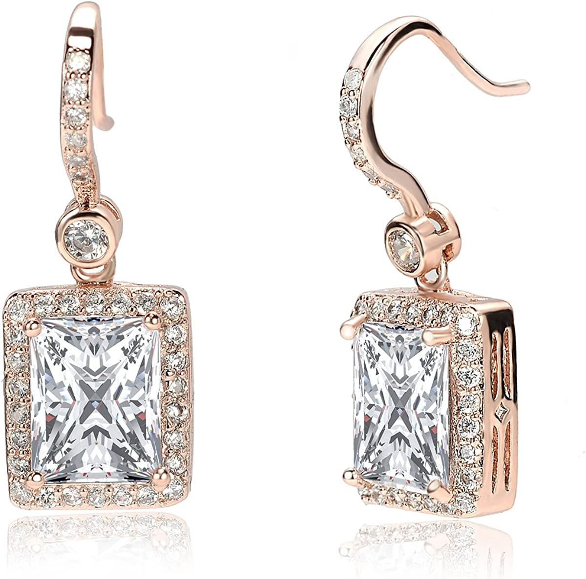 Miss Dec/ó 18ct Rose Gold Plated Cubic Zirconia 3 Piece Set Drop//Dangle and Stud Earrings