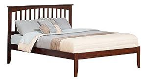 Atlantic Furniture Mission Platform Bed with Open Foot Board, King, Walnut