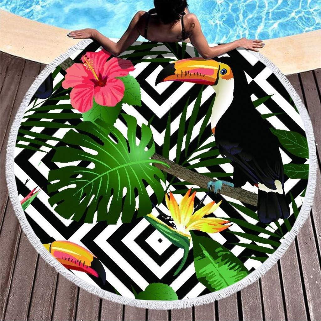 Shinelly Tukan - Toalla de Playa, Esterilla de Yoga, Mandala India, Redonda, algodón, Mantel, Toalla de Playa, Esterilla de Yoga Redonda, Bufanda, 59 en la Playa, Tiempo Libre, tucán, 150 cm: Amazon.es: Hogar