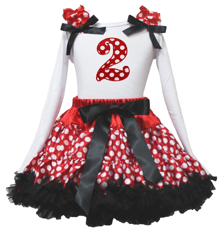 Petitebella Birthday Dress L//s Polka Dots 2nd Shirt Red Dots Skirt Set 1-8y