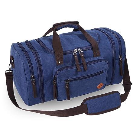 VENTCY Canvas Travel Duffle Bag Womens Mens 40L Weeknd Bag Vintage Large  Hodall Bag Hand Luggage Gym Bag Overnight Blue  Amazon.co.uk  Luggage 0b58238029
