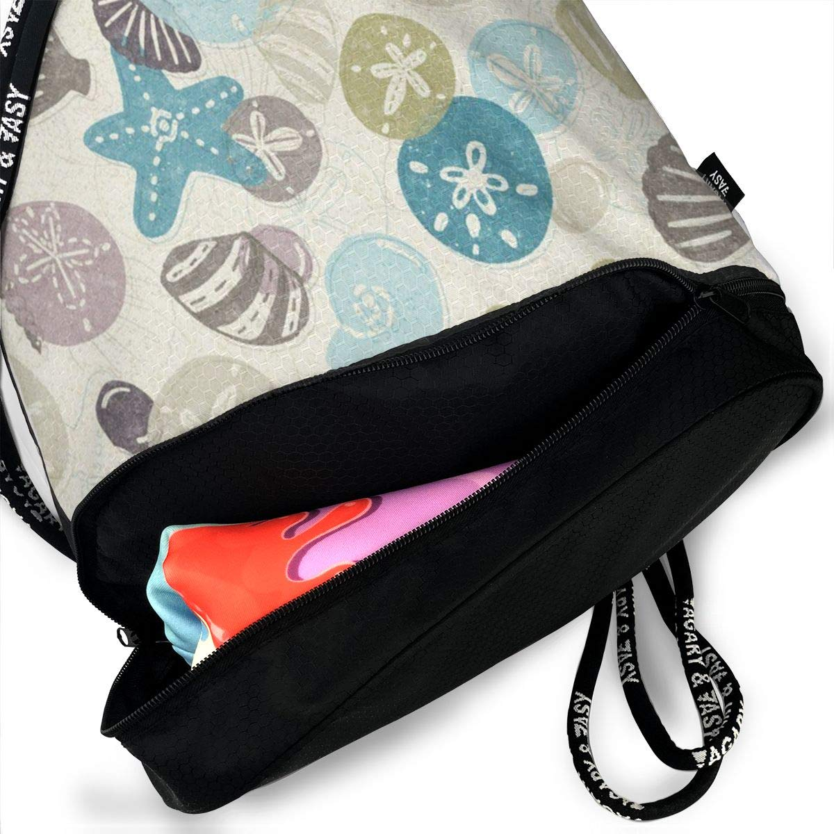 Shell And Starfish Cinch Backpack Sackpack Tote Sack Lightweight Waterproof Large Storage Drawstring Bag For Men /& Women