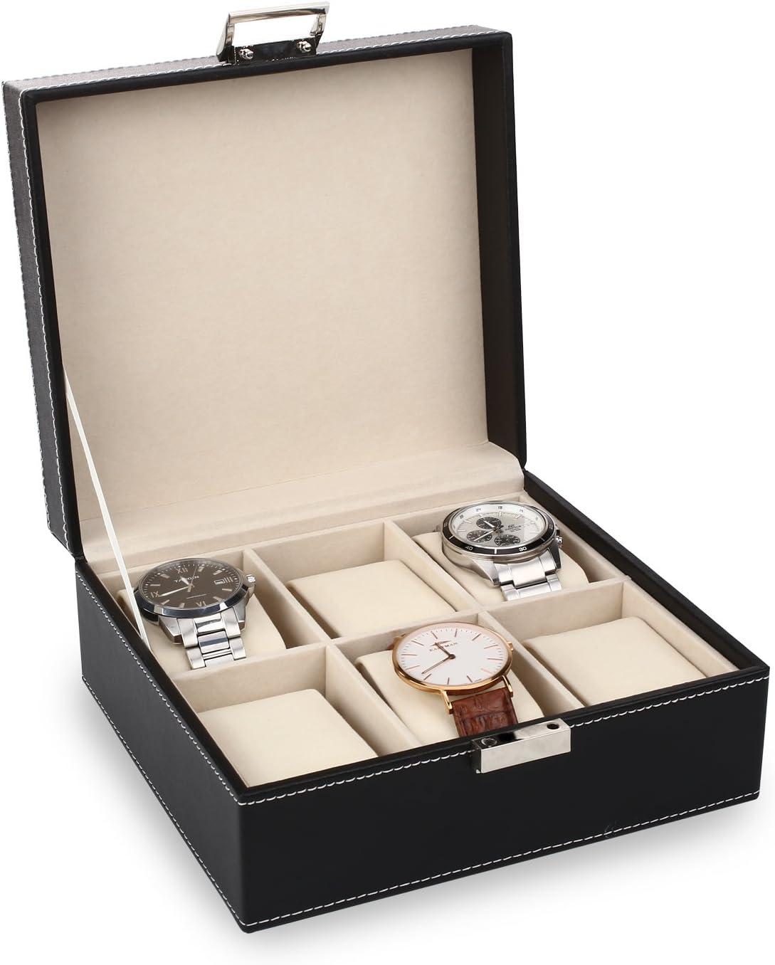 Amzdeal caja para relojes, para 6 relojes, para proteger los ...