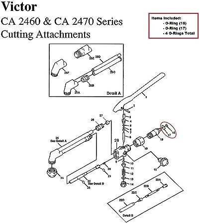 Victor CA1050 CA1060 CA2460 CA2470 Cutting Torch O-ring Rebuild//Repair Kit