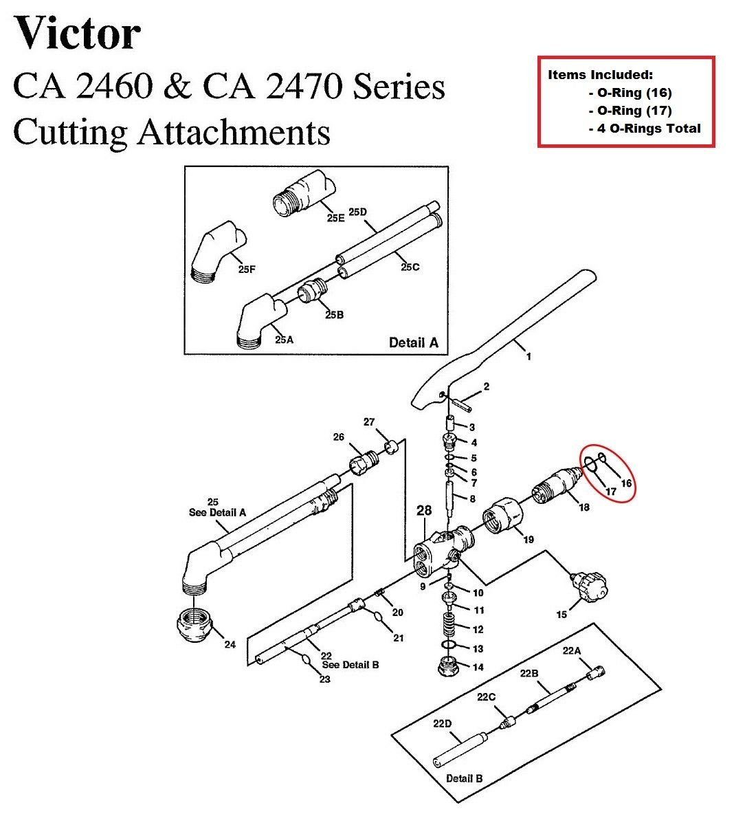 Victor CA1050 CA1060 CA2460 CA2470 Cutting Torch O-ring Rebuild/Repair Kit House/Victor/Harris/Seal Seat/Smith
