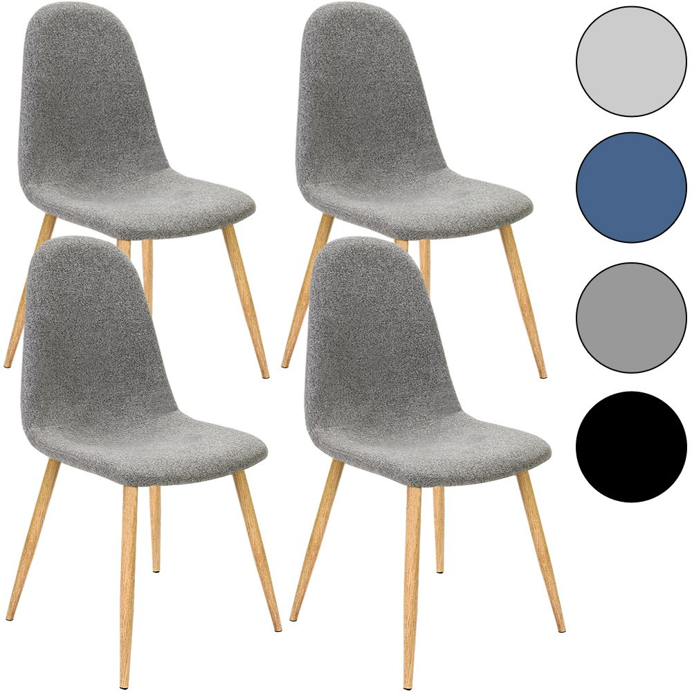 4x Chaise Design avec revêtement en tissu - Gris foncé - Tendance et moderne